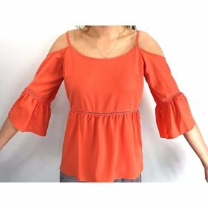 1.STATE  Off The Shoulder Peasant Blouse Coral M